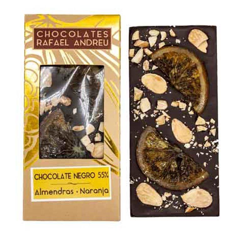 Tableta de chocolate negro, almendras y naranja