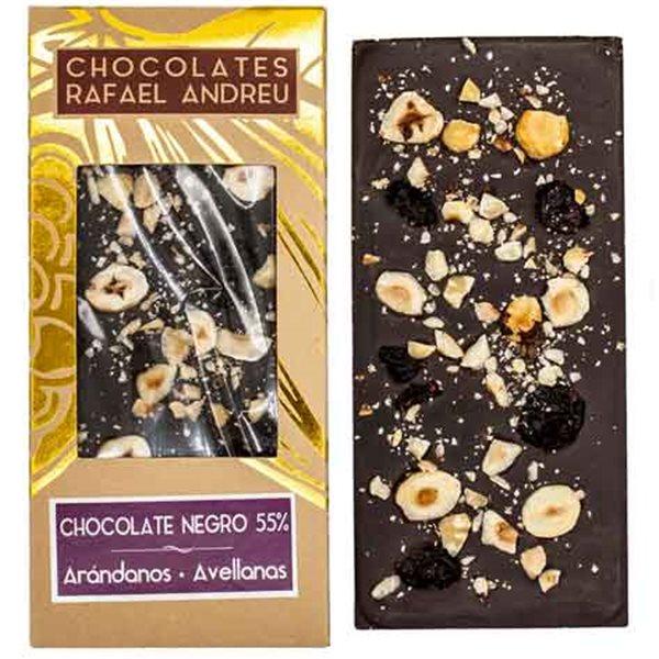 Tableta de chocolate negro, arándanos y avellanas