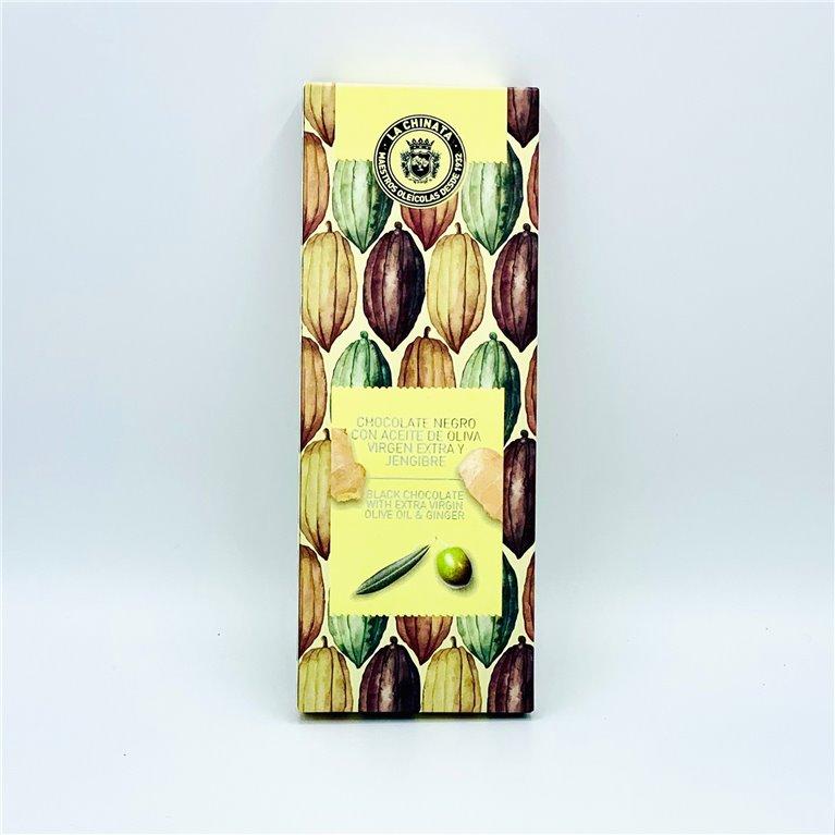 Tableta de chocolate negro con AOVE y jengibre