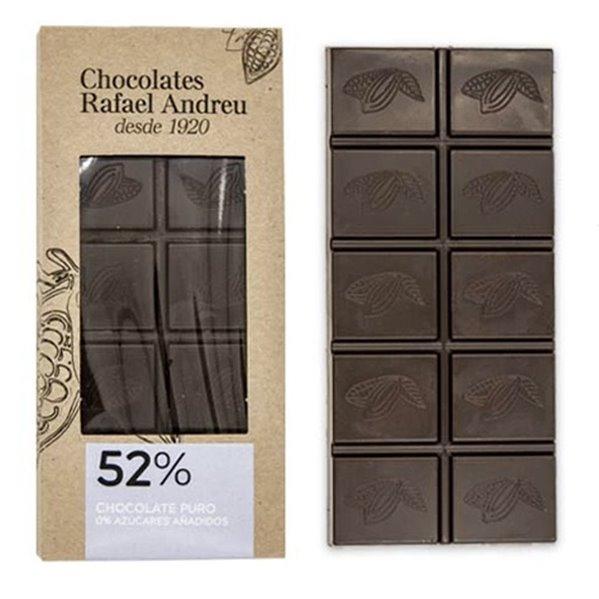 Tableta de chocolate puro sin azúcar (52% de cacao)