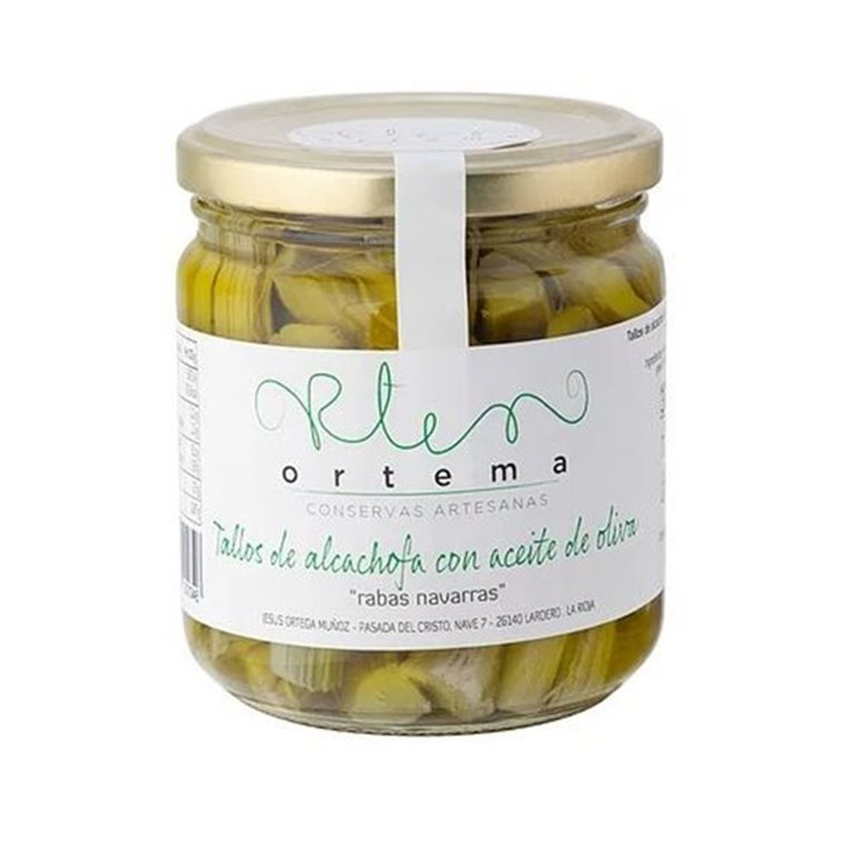 """Tallos de alcachofa con aceite de oliva """"rabas navarras""""."""
