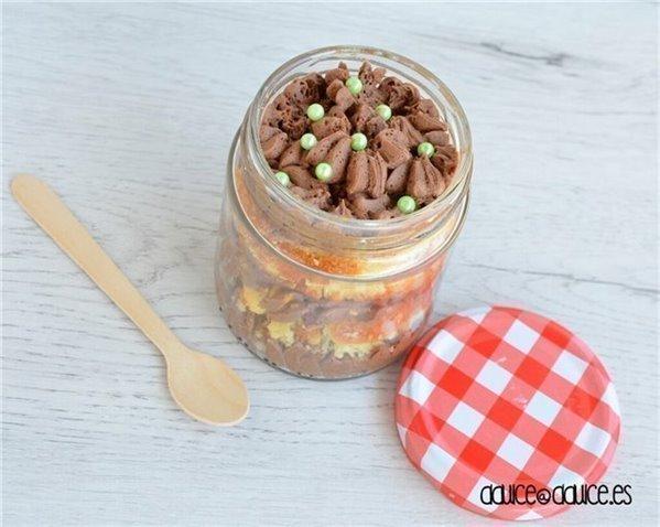 Tarta en tarrito: Vainilla & Chocolate
