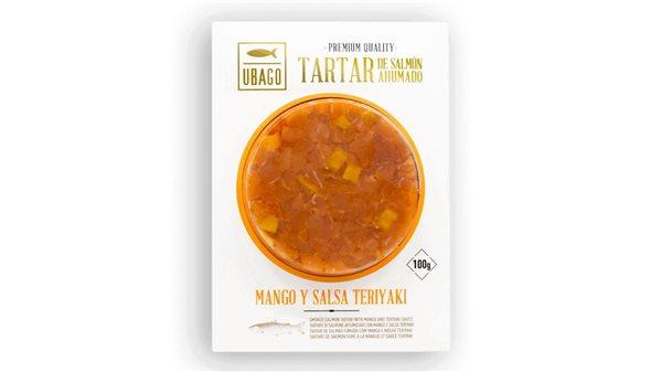 Tartar de salmón ahumado con Mango y salsa Teriyaki
