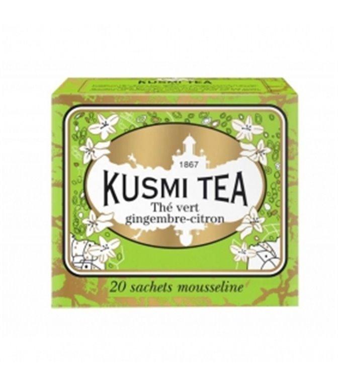 Green Tea with Ginger and Lemon 20 Muslins. Kusmi Tea. 12un.