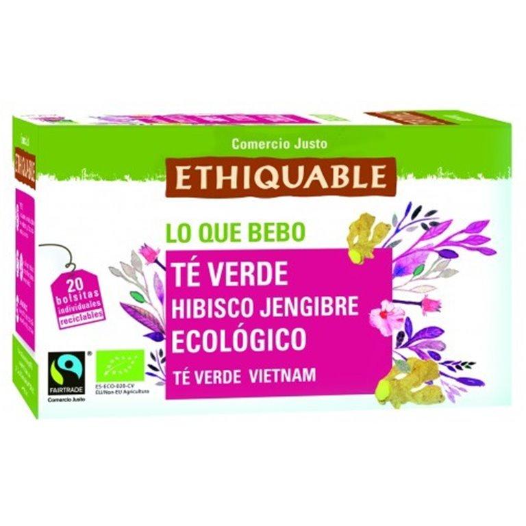 Té Verde Hibisco y Jengibre Bio Fairtrade 20tb