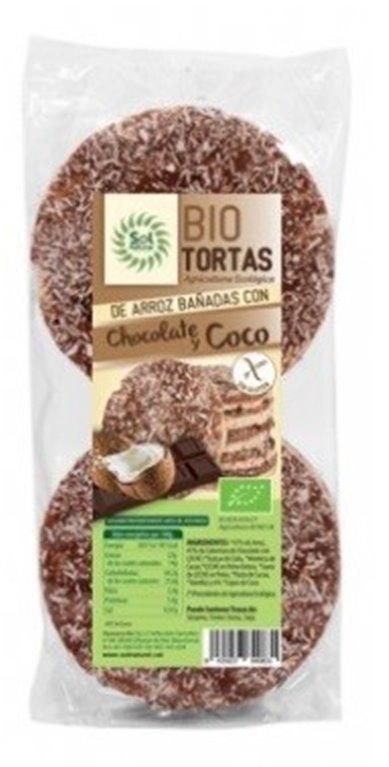 Tortas de Arroz Bañadas con Chocolate y Coco Sin Gluten Bio 100g