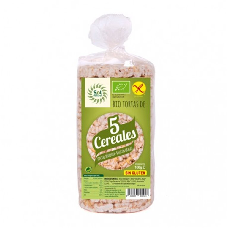 Tortitas 5 Cereales Sin Gluten Bio 100g, 1 ud