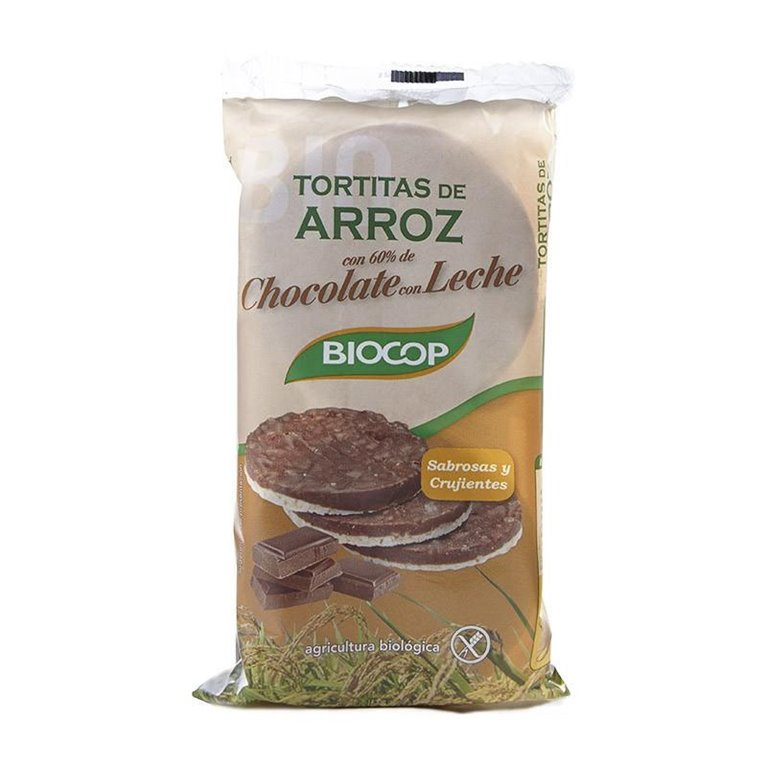 Tortitas de Arroz con Chocolate con Leche Sin Gluten Bio 100g, 1 ud