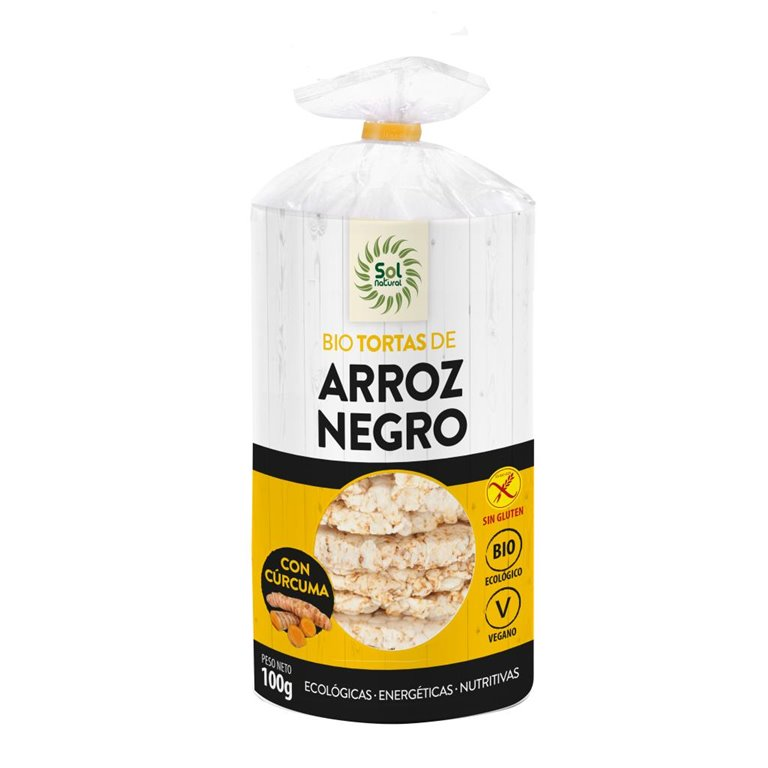 Tortitas de Arroz Negro y Cúrcuma Sin Gluten Bio 100g