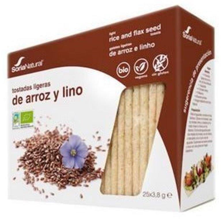 Tostadas Ligeras de Arroz Integral y Lino Sin Gluten Bio 95g