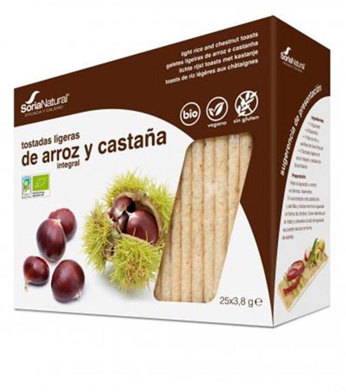 Tostadas Ligeras Ecológicas de arroz integral y castaña, 1 ud