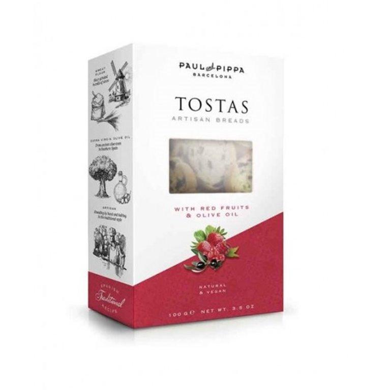 Tostas Artesanas con Frutos Rojos Paul and Pippa 100 gr., 1 ud
