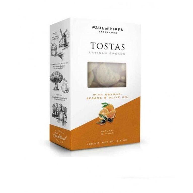 Tostas Artesanas con Naranja Paul and Pippa 100 gr., 1 ud