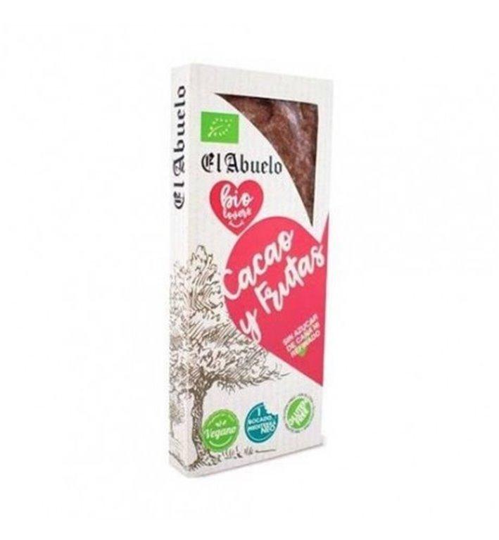 Turrón de cacao y frutas vegano, 200 gr