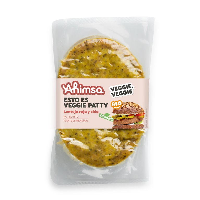 Veggie Patty Lenteja Roja y Chía Bio Ahimsa, 150 gr