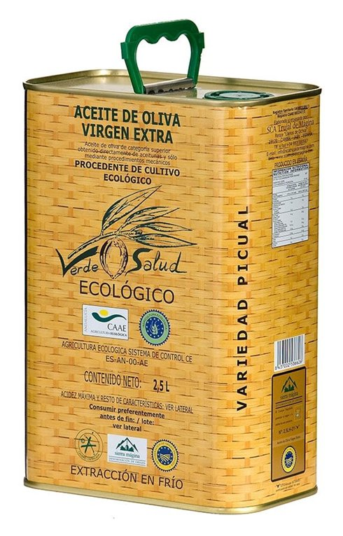Verde Salud Ecologico. Aceite de oliva Picual. 2,5 Litros, 1 ud
