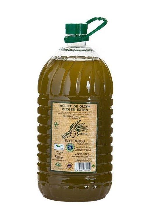 Verde Salud Ecológico. Aceite de oliva Picual. Caja de 3 botellas de 5 litros., 1 ud