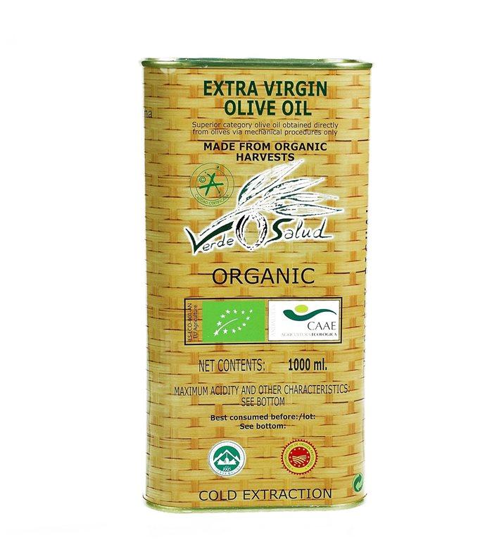 Verde Salud Ecológico. Aceite de oliva picual. Lata 1 litro., 1 ud