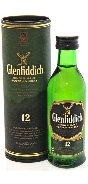 'Whisky Glenfiddich de Malta Miniatura 5cl Con Tubo (Caja de 96 unidades)