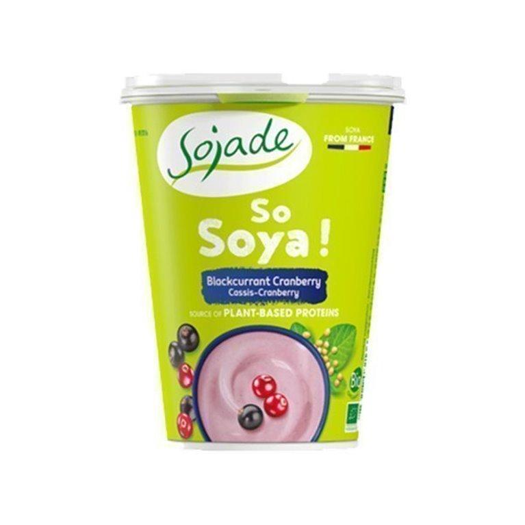 Yogur de soja casis y arándano negro, 400 gr