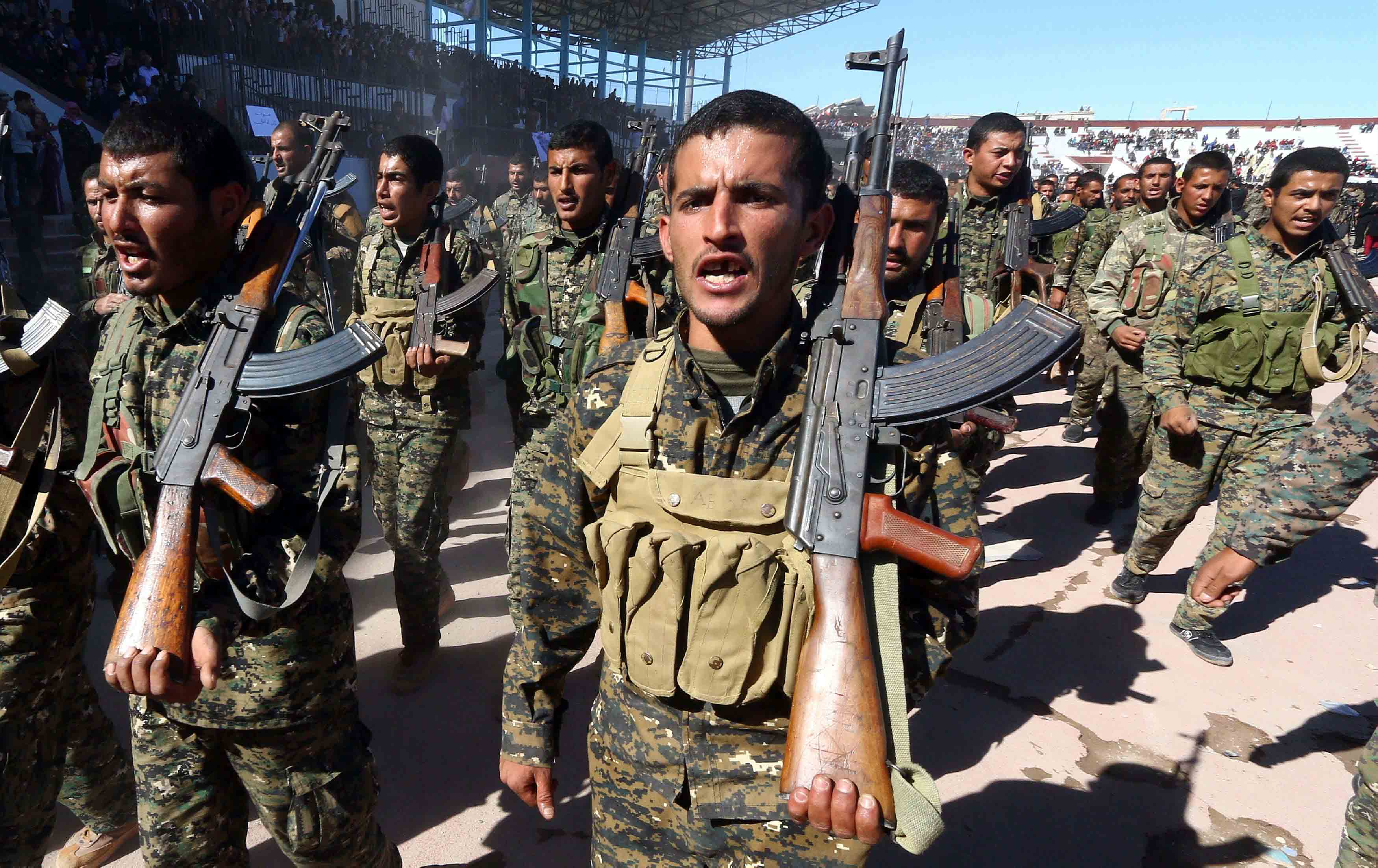 The SDF have faced a fierce fightback from the jihadists, including under the cover of sandstorms