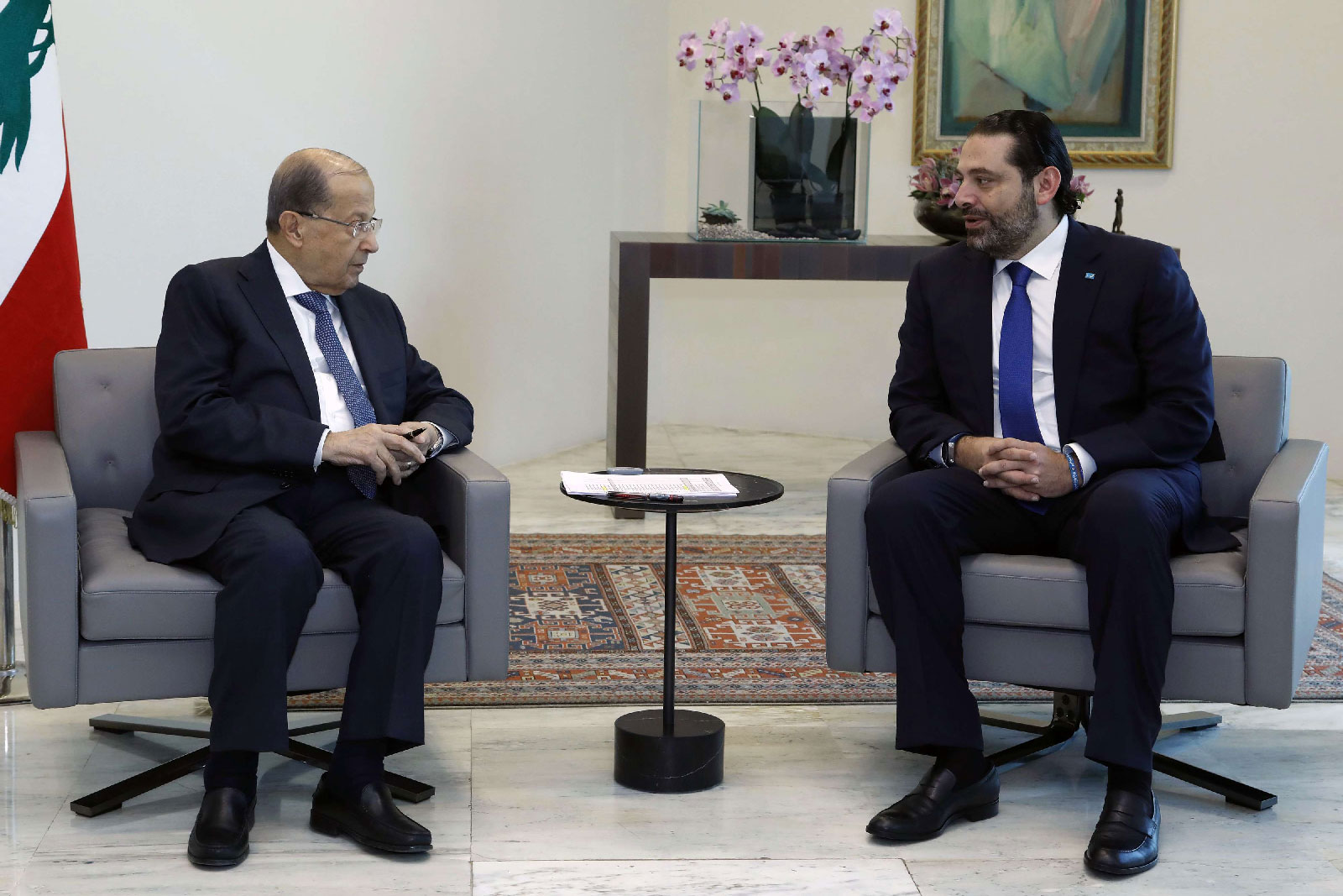 Lebanese President Michel Aoun, left, meets with Prime Minister Saad Hariri, at the Presidential Palace in Baabda.