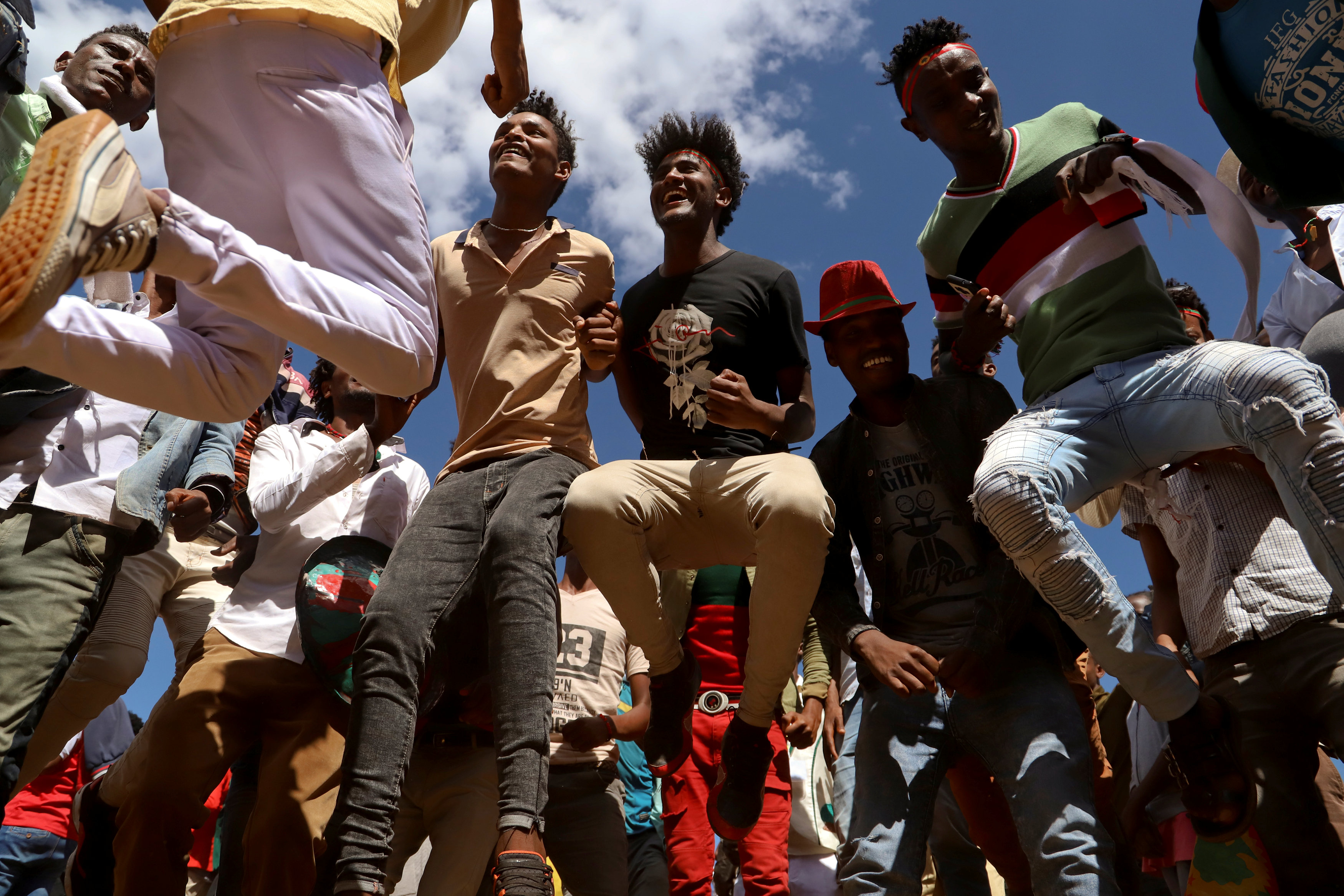 Youths dance during an Oromo Liberation Front rally in the town of Woliso, Oromia region.