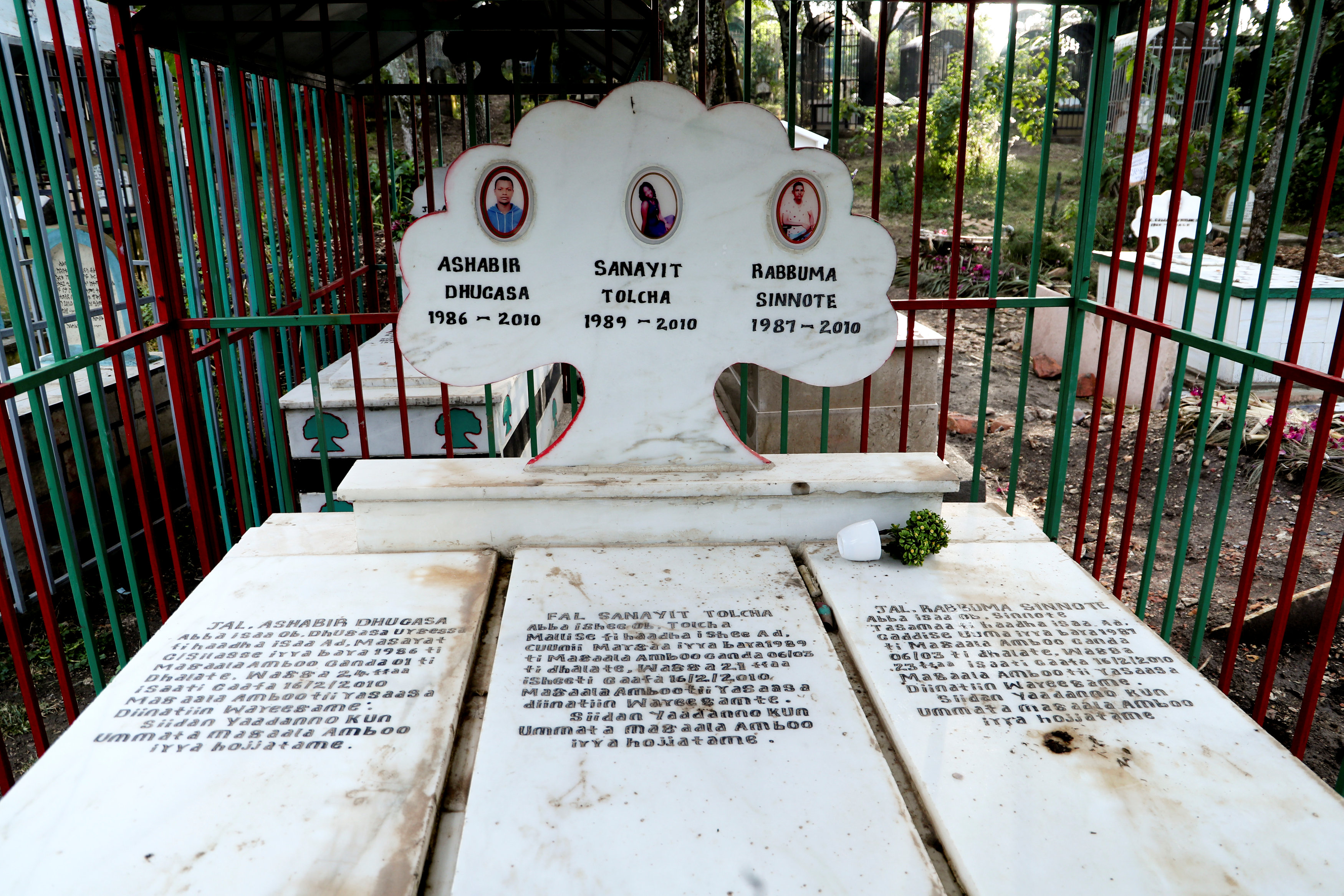 A gravestone for three young people from the Oromo ethnic group who were allegedly killed by Ethiopian security forces during protests.