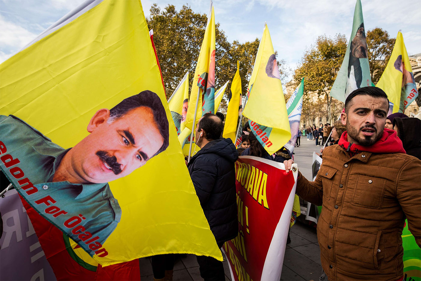 Kurdish protesters take part in a demonstration in Paris demanding the freedom of jailed Kurdistan Workers' Party (PKK) leader Abdullah Ocalan