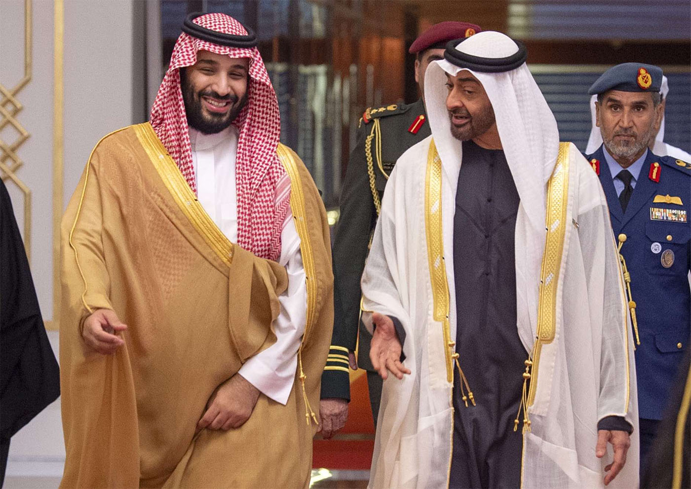 Saudi Crown Prince Mohammed bin Salman (L) received by Abu Dhabi's Crown Prince Sheikh Mohamed bin Zayed Al Nahyan