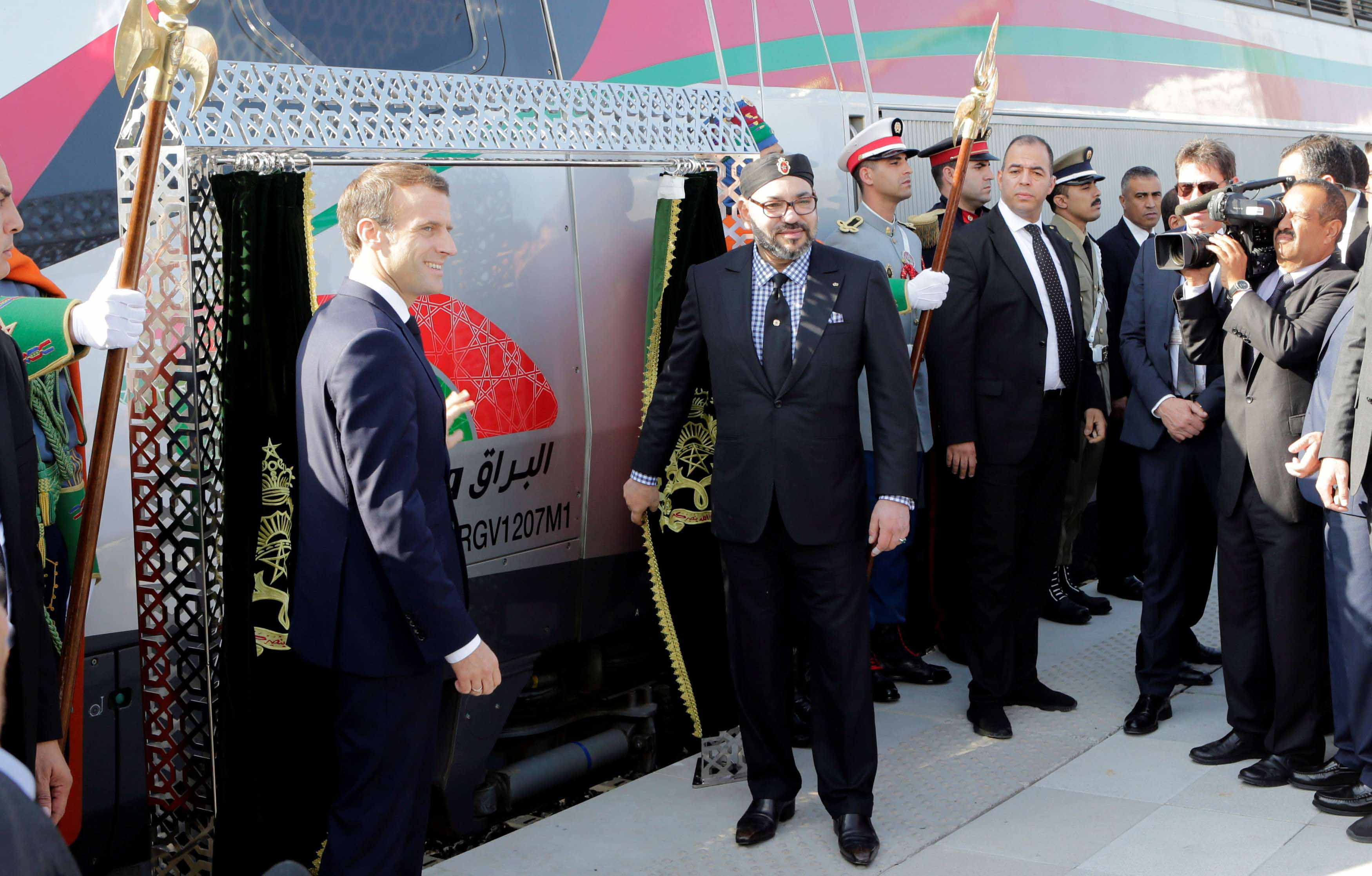 French President Emmanuel Macron (L) and Moroccan King Mohammed VI attend the launch ceremony of Africa's first high-speed train (LGV) in Tangier, on November 15.
