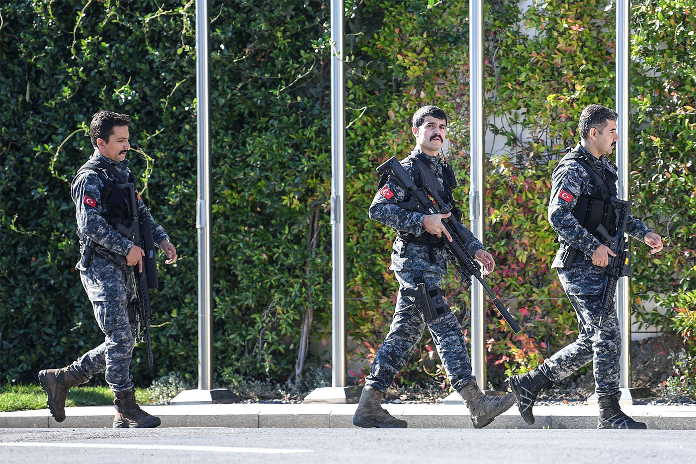 Turkish special force police officers patrol outside the Vahdettin Mansion in Istanbul