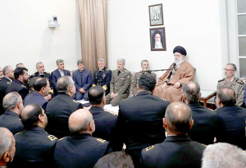 Iranian Supreme Leader Ayatollah Ali Khamenei delivers a speech during a meeting with navy commanders and officers in Tehran, November 28. (Office of Iran's Supreme Leader)
