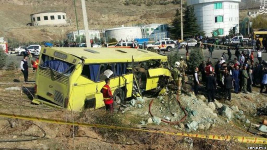 The bus was carrying 30 students along a mountainous road within the university's science and research campus in northwestern Tehran