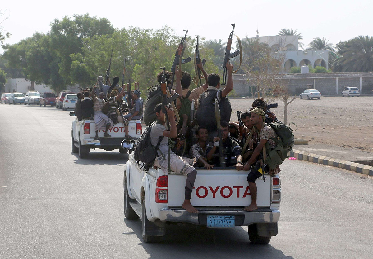 Yemeni Shiite Huthi rebel fighters are pictured in the port city of Hodeidah