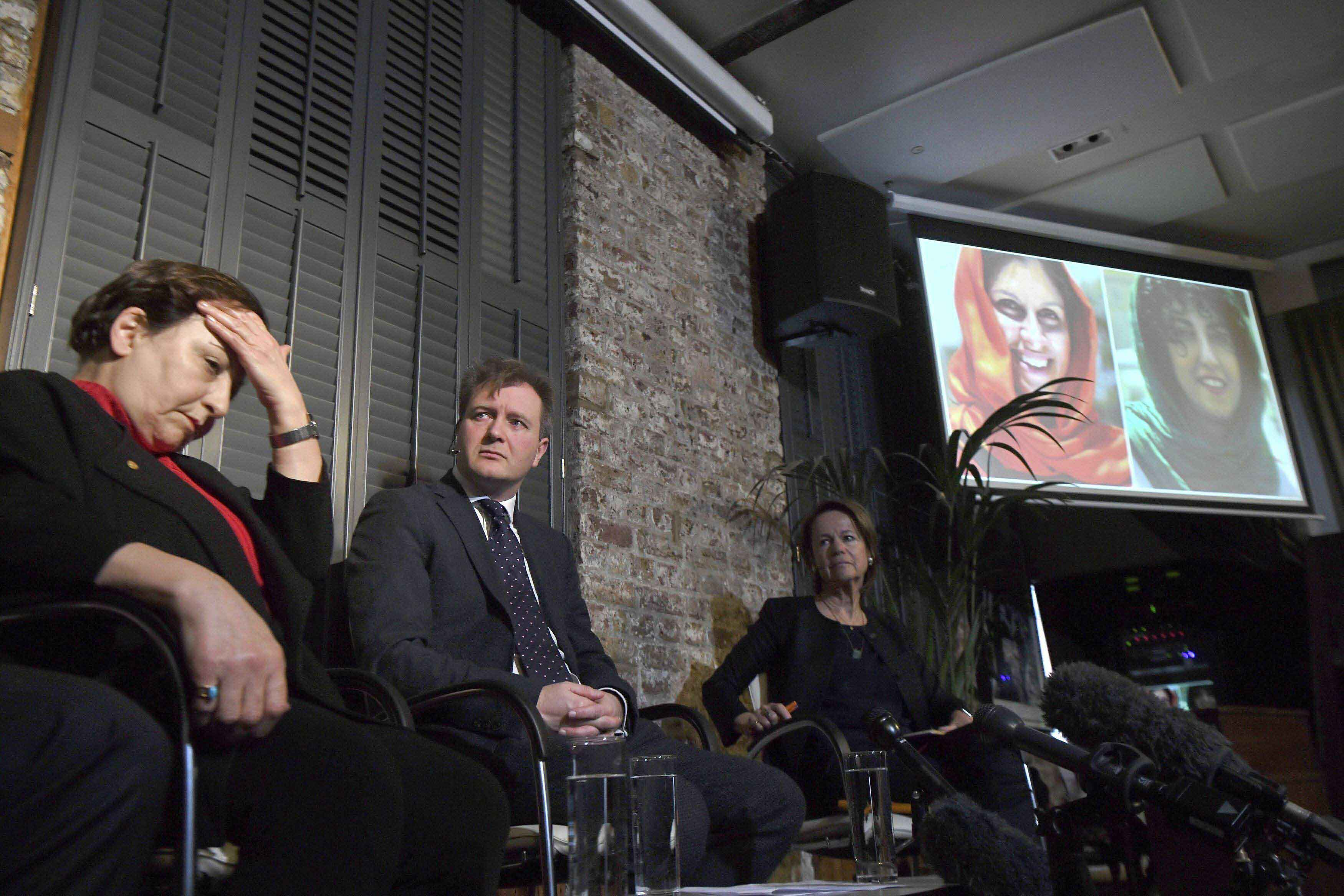 Iranian lawyer and former judge, Shirin Ebadi, and human rights activist and founder of Defenders of Human Rights Centre in Iran sits with, Richard Ratcliffe, the husband of jailed British mother Nazanin Zaghari-Ratcliffe