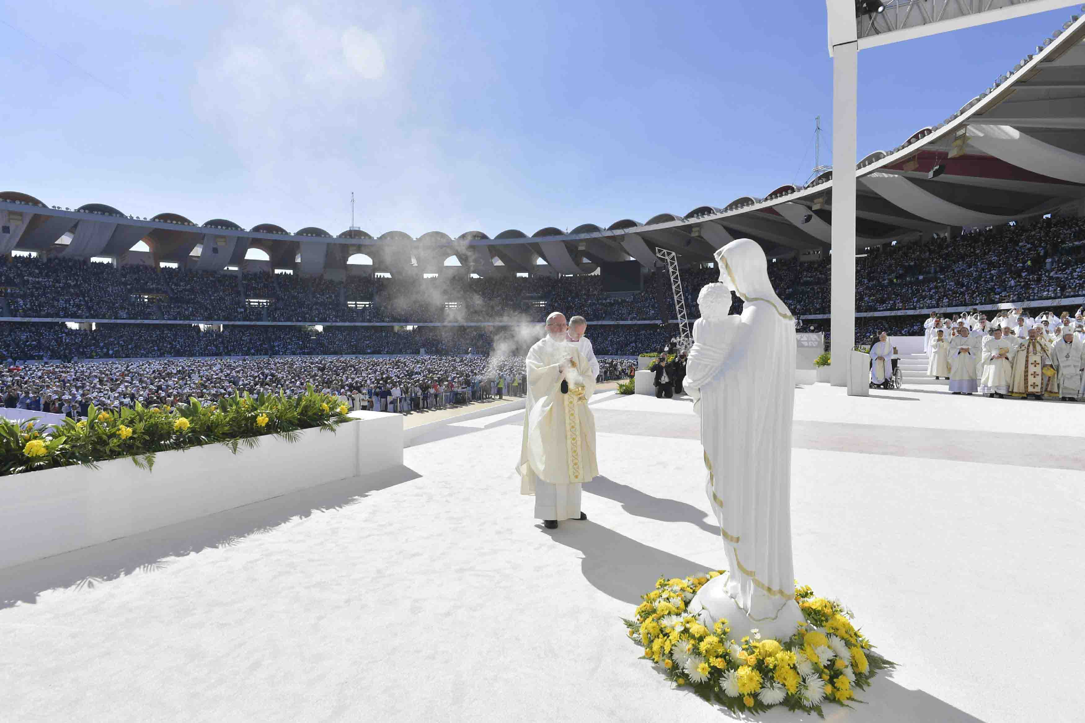 Tuesday's mass came a day after the pope called for an end to wars in the troubled Middle East, including in Yemen and Syria