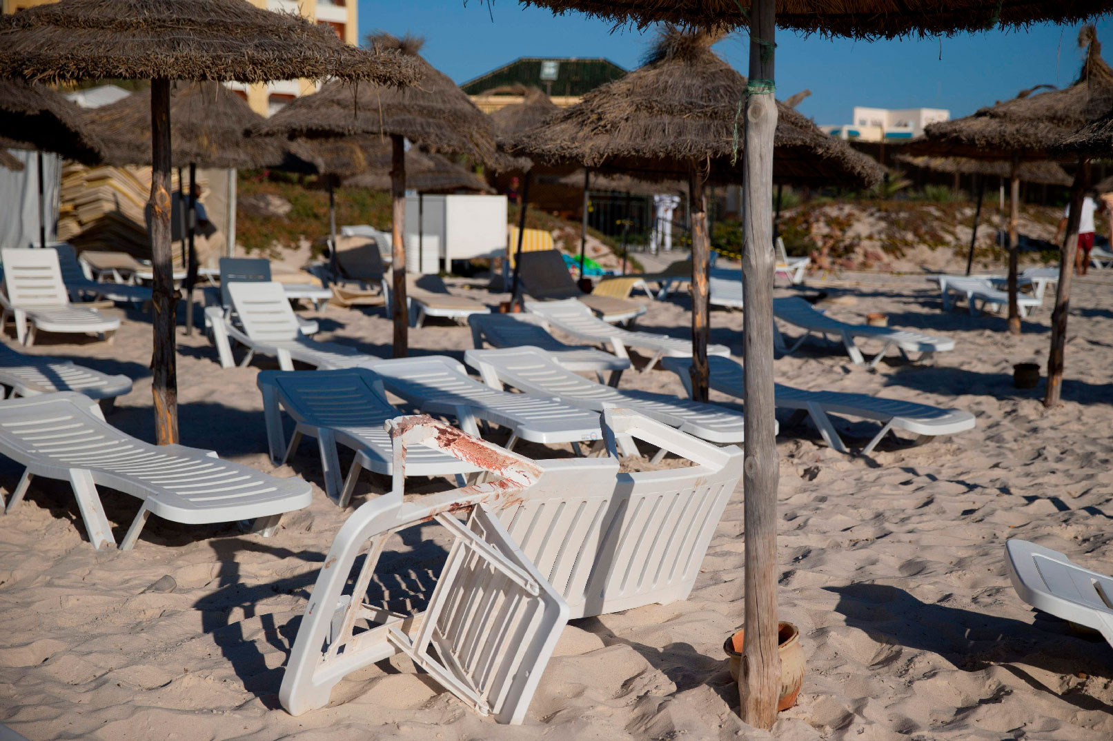 In this file photo taken on June 27, 2015, blood stains are seen on a deckchair at the beach of the Riu Imperial Marhaba Hotel, at the site of a shooting attack, in Port el Kantaoui, on the outskirts of Sousse south of the capital Tunis.