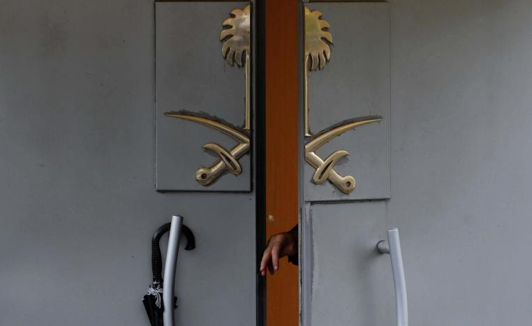 A member of security staff opens the entrance of Saudi Arabia's consulate in Istanbul, Turkey October 15, 2018