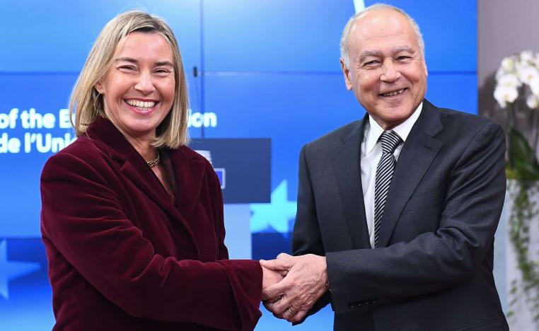 EU foreign policy chief Federica Mogherini (L) welcomes Arab League Secretary-General Ahmed Abul Gheit Ahmed Abul Gheit during a Foreign Affairs council at the European Council in Brussels, on February 26, 2018