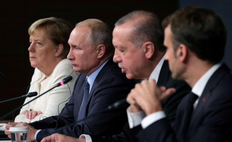 Leaders attend a news conference at Syria summit in Istanbul, Turkey, October 27 2018.