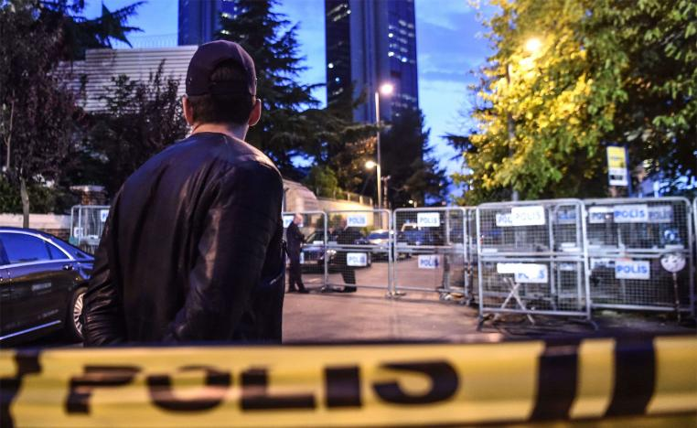 The Saudi consulate is cordoned off by Turkish police in Istanbul