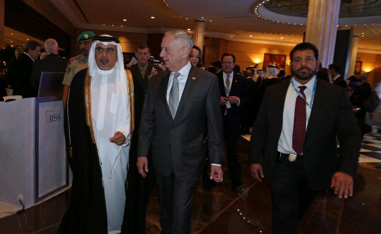 "Bahrain's Crown Prince Salman bin Hamad al-Khalifa walks with the US Defense Secretary James Mattis at the inauguration of the 14th regional security summit ""The Manama Dialogue"" in Manama, Bahrain October 26, 2018."