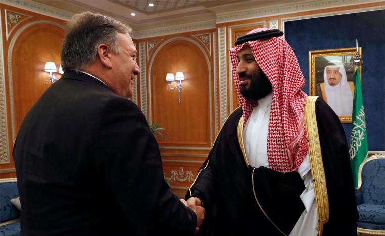US Secretary of State Mike Pompeo (L) shakes hands with Saudi Crown Prince Mohammed bin Salman in Riyadh