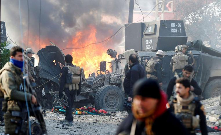 A car bomb exploded during an operation to clear the al-Andalus district of Islamic State militants, in Mosul, Iraq, January 16, 2017