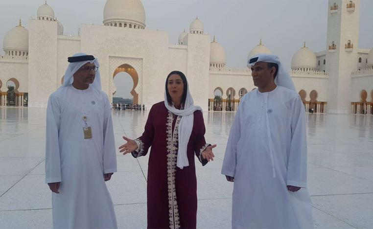 Israel's Culture and Sports Minister Miri Regev (C) visits the Sheikh Zayed Grand Mosque in Abu Dhabi,