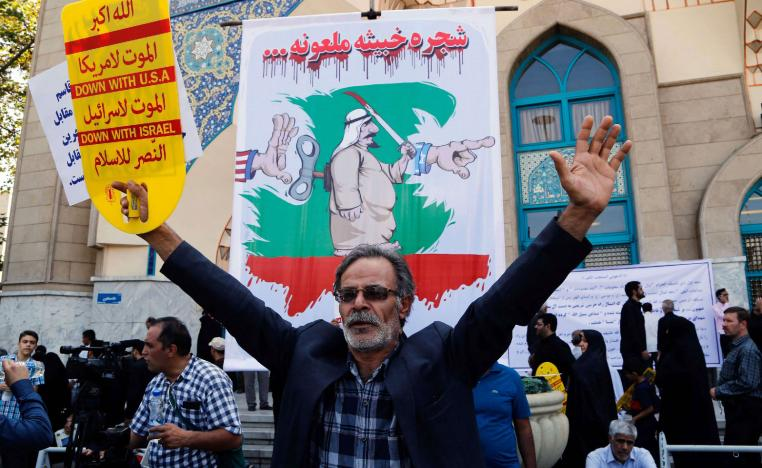 An Iranian man participates in an anti-Saudi demonstration in the capital Tehran on September 9, 2016.