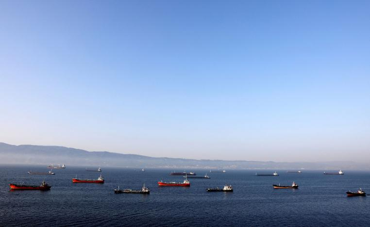 Oil tankers wait to dock at Tupras refinery near the northwestern Turkish city of Izmit.