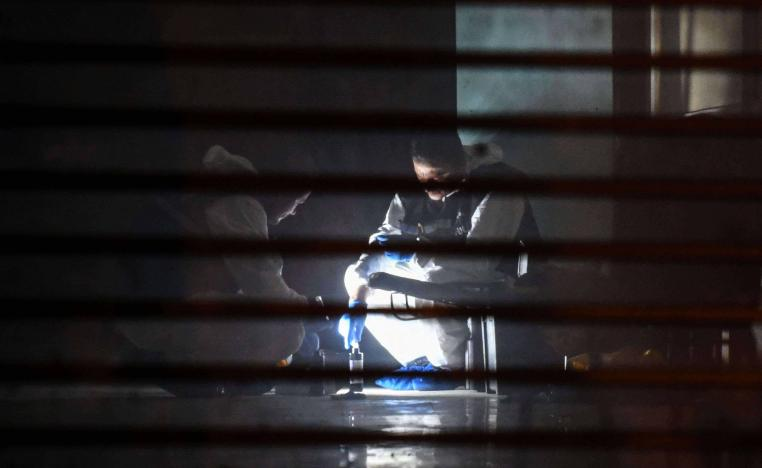 Turkish forensic search for evidence at the garage of Saudi Arabia's Consul General Mohammad al-Otaibi on October 17, 2018 in Istanbul