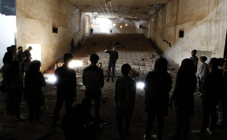 Artists practise at the Abu Nuwas Theatre that was destroyed in 2003 during the war in the Iraqi capital Baghdad on November 17, 2018.